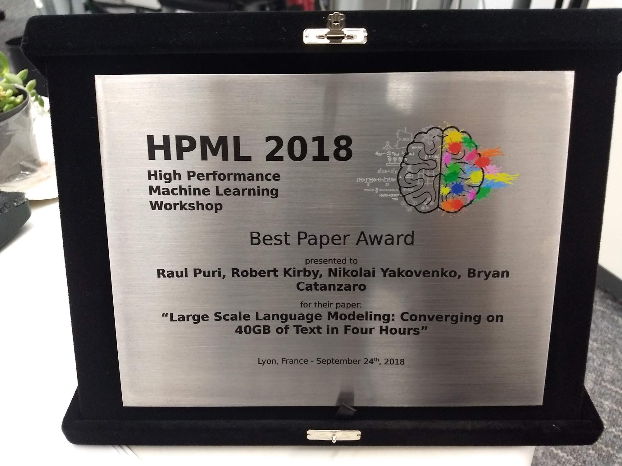 HPML 2018: HIGH PERFORMANCE MACHINE LEARNING
